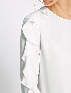 Ruffle Sleeve Round Neck Blouse | M&S