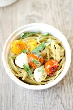 Caprese Pesto Linguine with Blistered Tomateos - Heather's French Press