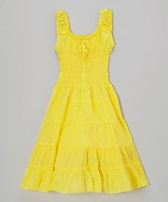 Love this Lemon Fizz Shirred Dress - Girls by Chillipop on #zulily! #zulilyfinds
