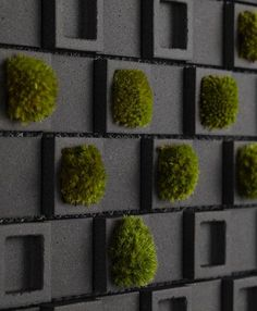 Vertical Moss | These great mosaic wall tiles, inspired by the Japanese culture and aesthetic  are called 'Dent Cube'. | The designer, Teruo Yasuda,...