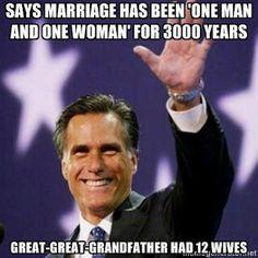 Mitt's g-g-granddad had 12 wives