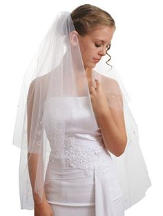 SparklyCrystal Womens Wedding Veil 2 T Bead Flower Edge Fingertip Length Vb8A3 36 White * You can find more details by visiting the image link. (This is an affiliate link and I receive a commission for the sales) #BridalVeils