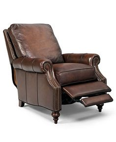 """Madigan Leather Recliner Chair, 32.75""""W x 38.5""""D x 39""""H - Living Room Furniture - furniture - Macy's"""