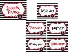 Lesson Plan labels