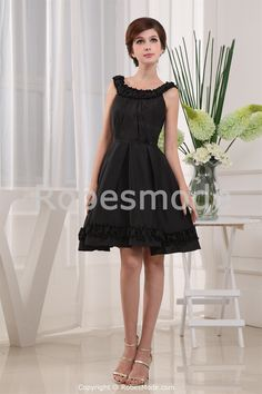 Bateau Neck Natural Waist With Full A-Line Skirt Taffeta Dress 187f6b805