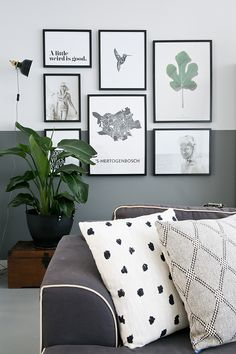 Fox andsome living room art, inspiration wall, gallery wall, half painted w Living Room Paint, My Living Room, Living Room Decor, Half Painted Walls, Half Walls, Inspiration Wand, Room Colors, Bedroom Wall, Decoration