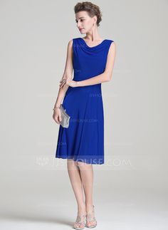 For my mama? A-Line/Princess Cowl Neck Knee-Length Ruffle Zipper Up Regular Straps Sleeveless No 2016 Royal Blue Spring Summer Fall General Plus Jersey Mother of the Bride Dress