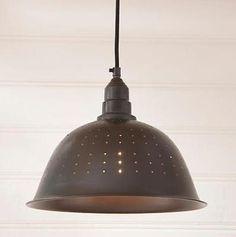 COLANDER PENDANT HANGING Light/FARMHOUSE, COUNTRY, PRIMITIVE LIGHTING – Prim Patch