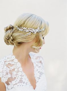 Bridal Halo Hair Comb Silver Wired Swarovski by veiledbeauty
