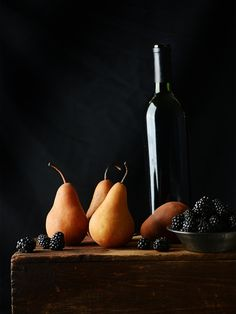 Wine Poached Pears with Yogurt & Berries
