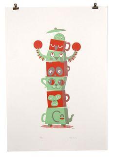 Teatime Totem Pole Screenprint by peskimo on Etsy