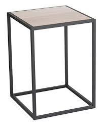 Modern side table or plant stand. * Measures: x x * Black steel frame with wood top Black Side Table, Modern Side Table, Intelligent Design, Square Side Table, Wood Sizes, Wooden Tops, Coffe Table, Home Living, Living Room