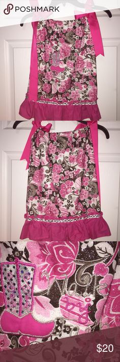"""Girls Sparkle Pillowcase Boutique Dress Size 3T Adorable Pillowcase Boutique Dress!  Embroidered """"Walk By Faith"""" & Cowboy Boot Sparkle fabric Color: Hot Pink Brown White  Girls size 3-4 Check out my other listings for girls clothes! I love giving great deals on bundles! Beans Dresses Casual"""