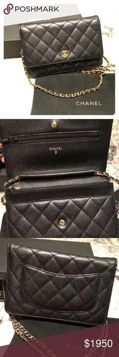 Chanel Wallet On Chain Black caviar leather. Gold-tone hardware and strap.  Comes with original sales receipt, dust bag, felt cover, authentication card, leather care instructions, and black Chanel box. Like New. CHANEL Bags Mini Bags