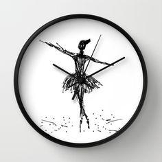 Wood Clocks, 30, Wall, Design, Decor, Writing, Ballerina, Decoration