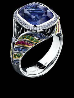 Jewellery Theatre ART STONES RING Ref: AS1 017 WBF1346 18K White Gold 1 sapphire 46 diamonds 0,24 ct 84 sapphires 0,49 ct 40 rubbies 0,24 ct 60 tsavorites 0,42 ct