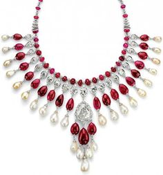 For this necklace, jeweler Viren Bhagat spent 10 years collecting 24 Burmese cabochon rubies. Add some diamonds and pearls. The Bhagat jewelry house, 2008.