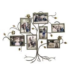 Adeco Trading 7 Opening Decorative Bronze-Color Iron Family Tree Collage Wall Hanging Picture Frame