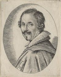 Ottavio Leoni (Il Padovano)(Rome, 1578-1630) ~ Giovanni Baglione (Rome, (1566-1644) ~ Engraving ~ ca.1621 ~ As in the later portrait of Baglione, he wears the cross of a Knight of the Cross of Christ, which he was awarded in 1606.  He is probably best remembered for his book, Lives of Painters, sculptors and Architects (Rome, 1642), which is one of the principal sources of information on art and artists from 1572 to 1642.