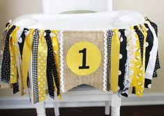 Bumble Bee Party!  Perfect for your little bumble bee.  Rag tie highchair banner for a 1st birthday celebration.