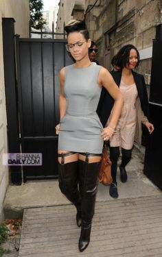 Rihanna wearingHussein Chalayan Dress+Boots  Leaving Hussein Chalayan Fashion Show in Paris October 04 2009