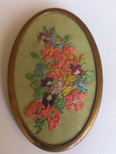 vintage embroidered flower brooch by wilsonscollectables on Etsy