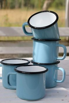 Enamel mug - Light blue with black top and white inside 4 dl.