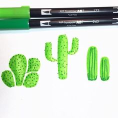 Cute little cacti drawn with Tombow Dual Brush Pens