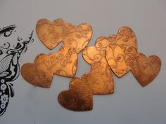 Jewelry Supplies5 Copper Etched Double Heart by AJewelryWorkshop, $4.95