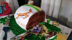 Rugby ball cake inside