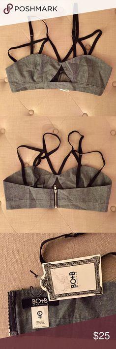HLZBLZ denim zip up bralette BRAND NEW never worn. Denim zip up bralette with adjustable straps. Fun little mesh peekaboo window detail on front. Zipper works perfectly. Straps are elastic HLZBLZ Intimates & Sleepwear Bras