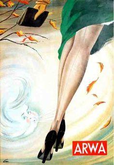 """Als interessante Zugabe geben diese Anzeigen dem heutigen Interessierten aber nicht nur Auskunft über die Vorzüge damaliger ARWA-Produkte, sondern dokumentieren darüber hinaus anschaulich das Frauenbild in den frühen Fünfziger Jahren. Beispielsweise """"ahnen Frauen nicht, wie kompliziert der Herstellungsweg eines Stumpfes ist, bevor er ihre Beine bis zu den Zehenspitzen verschönt"""". Dafür zeigt sich jedoch immerhin an der Nähmaschine, """"wie überaus geschickt junge Frauen sein können."""""""