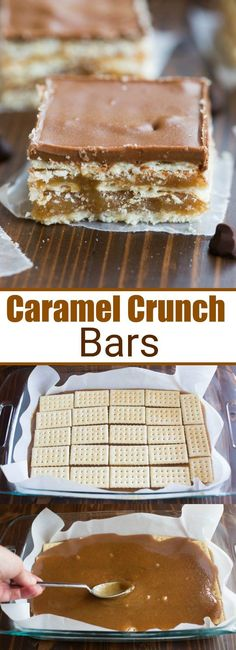 These Caramel Crunch Bars, with layer upon layer of delicious sweet, salty, caramel goodness, are one of my favorite easy no-bake desserts! # no bake Desserts Caramel Crunch Bars 13 Desserts, Desserts Nutella, Easy No Bake Desserts, Baking Desserts, Desserts Caramel, Holiday Desserts, Thanksgiving Desserts, Health Desserts, Carmel Desserts Easy