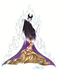 Sleeping Beauty - Maleficent and Aurora (by J-Scott-Campbell)