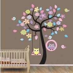 Colorful Owl Swing Tree Birds Flowers Nursery Wall