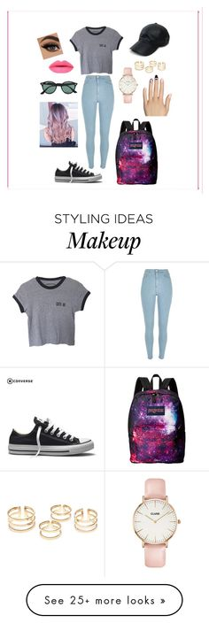 """""""Untitled #150"""" by madeeee on Polyvore featuring River Island, Converse, JanSport, Ray-Ban, Vianel, CLUSE, Static Nails, women's clothing, women and female"""