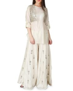 Payal Singhal Ivory Silk Kurta with Sharara Pant and Short Jacket