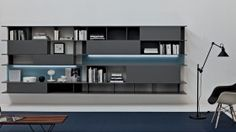 Alias Wall Unit by Sangiacomo, Italy in matt ferro lacquer and back panels in matt bianco and azzurro lacquer. Manufactured By San Giacomo. Selling Furniture, Furniture Companies, San Giacomo, Modern Tv Wall Units, Living Room Inspiration, Modern Furniture, Lacquer Furniture, Shelving, The Unit