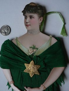 Antique Victorian Lady Scrap Paper Crepe Paper Dresden Ornament Large 11 1 2"