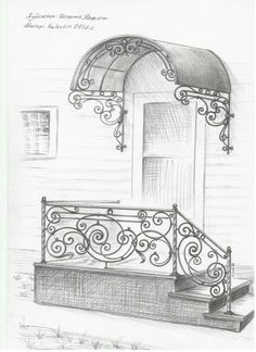 Inspiration for the master wing. The landing would continue to the left as a ramp into porte cochere, planning ahead for old age and wheelchairs if and when needed. Gate Design, Door Design, Exterior Design, House Design, Balustrade Inox, Iron Staircase, Iron Furniture, Grill Design, Iron Art