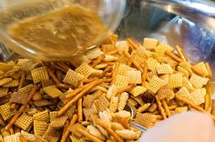 A Fall MUST HAVE! Chex Party Mix - The Pioneer Woman - She has a little trick she uses to shake this simple recipe up a notch!
