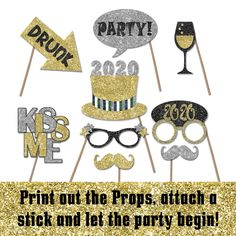 New Years Photo Booth Props 2020 New Years Eve Printable | Etsy