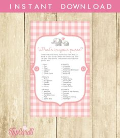 Elephant Baby Shower What's in Your Purse Game Printable Download Pink and Grey Elephant Baby Shower Purse Game Pink Purse Raid 0048A-P by TppCardS #tppcards #printable #invitations                                                                                                                                                                                 More