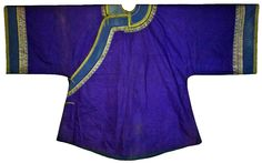 Purple Antique Chinese Silk Embroidery Robe Embroidered Qing Han 19thc Large !! #ChingDynasty