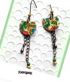 Boucles d'oreilles multicolores sur chaînette couleur cuivre/boucles-d-oreilles-h-angiari : Boucles d'oreille par boucles-d-oreilles-h-angiari