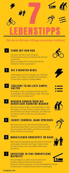 7 life tips: the infographic for a better life - gesundheit Good To Know, Feel Good, Work Life Balance, Self Development, Better Life, Self Improvement, Motivation Inspiration, Life Hacks, Life Tips