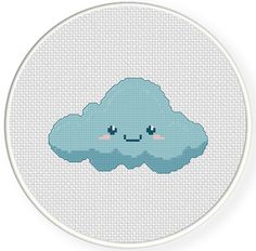 Charts Club Members Only: Cute Cloud Cross Stitch Pattern Cross Stitch Beginner, Cross Stitch For Kids, Cross Stitch Art, Simple Cross Stitch, Cross Stitching, Cross Stitch Embroidery, Funny Cross Stitch Patterns, Cross Stitch Designs, Cute Embroidery