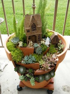 from broken pots to fairy gardens