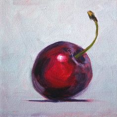 Cherry Minimalist Still Life Oil Painting by Nancy Merkle; Original Paintings and Fine Art Reproduction Prints