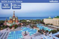 Denize sıfır konumu ve özel plajı ile kaydıraklı havuz seçenekleriyle WOW Kremlin Palace Antalya'da sizi bekliyor.. Üstelik 0-13 1. çocuk, 0-6 2. çocuk ücretsiz.